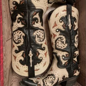 Lucchese Scarlette Studded Black Ivory Boots